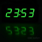"2"" Car Green LED Clock w/ Temperature Voltage Display - Black + White"