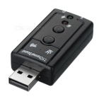 7.1 Channel Sound Card / 3.5mm Microphone External Converter Adapter w/ USB - Black
