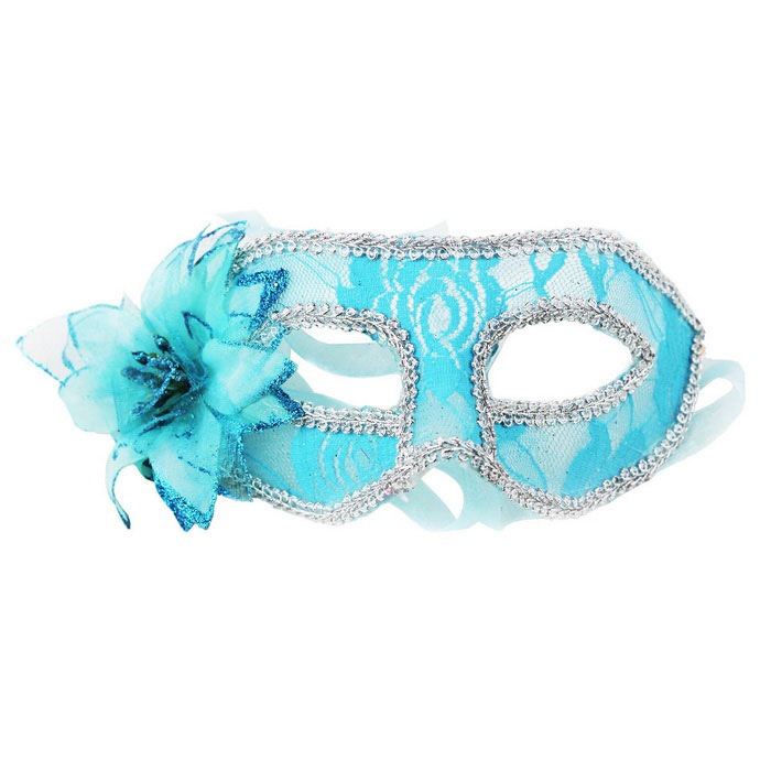 Dance Sexy Lace Flower Mask - Sapphire Blue + Silver