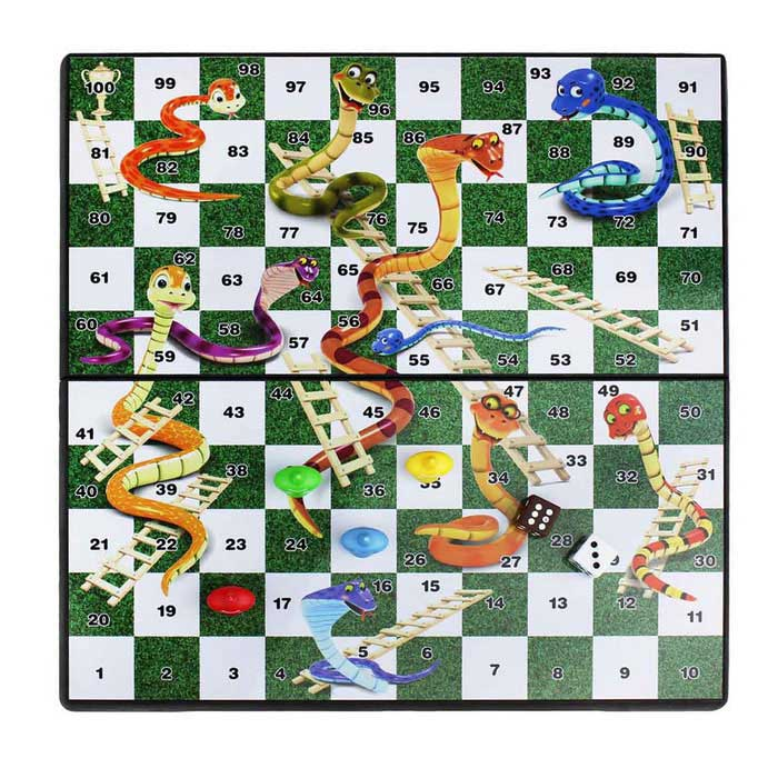 Educational Portable Folding Magnetic Snakes & Ladders Travel Table Top Desk Board Game