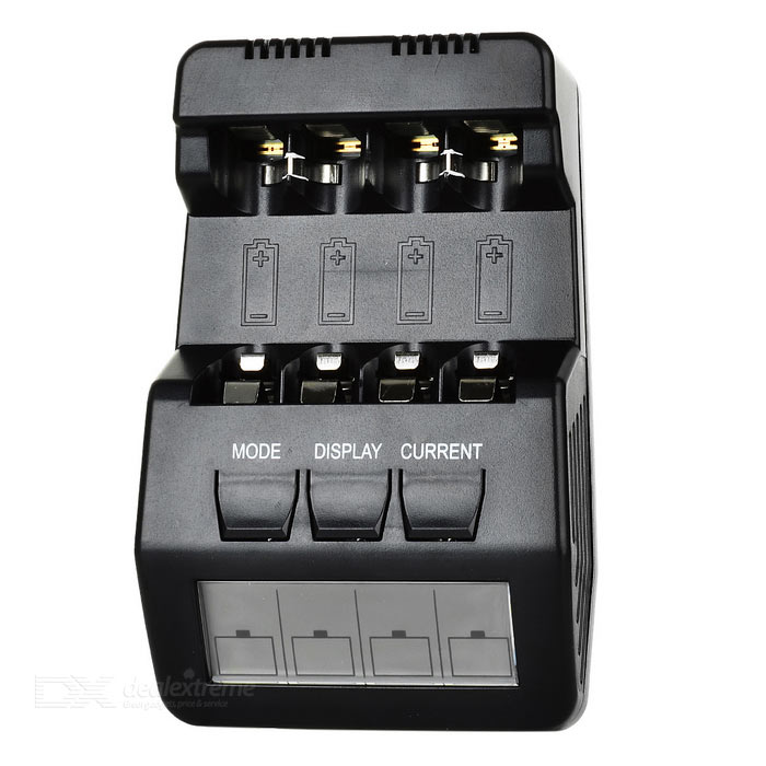 BM100 4-Slot Smart Battery Charger for Ni-MH NiCD AA / AAA Batteries - Black (US Plugs)