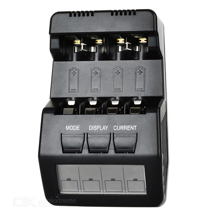 BM100 4-Slot Smart Battery Charger for Ni-MH NiCD AA / AAA Batteries - Black (EU Plug)