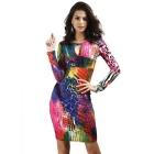 Women's Sexy Cocktail Evening Pencil V-Neck Dress - Multicolored (XXL)