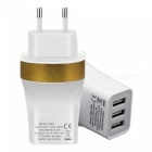 EU Plug 3-USB 5V 3.4A Power Adapter Charger for Phone - White