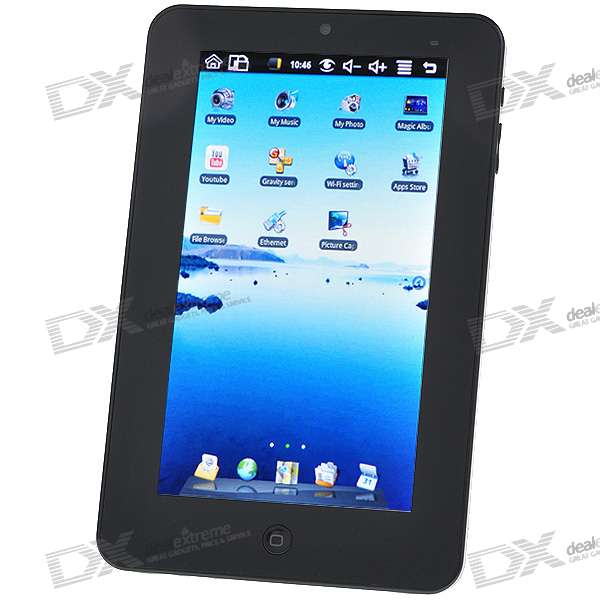"""7 """"Touch Screen TFT LCD Google Android 1,7 Tablet PC w / WiFi / Camera - Black (ARM926EJ-S)"""