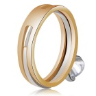 Xinguang Women's Simple Crystal Double Finger Ring - White + Golden
