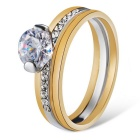 Xinguang Women's Simple Crystal Double Ring - White + Golden (US 8)