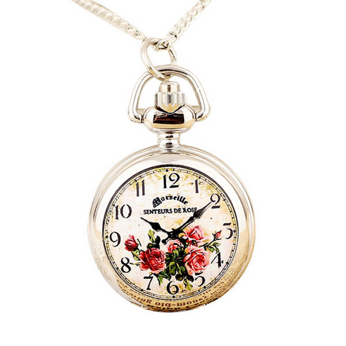 Small Red Roses Style Enamel Steel Necklace Pocket Watch - White