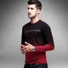 KUEGOU KPT-6311 Gradients Round Neck Long Sleeve T-Shirt - Red (XL)