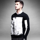KUEGOU Men's Long Sleeve Round Neck T-shirt - Black + White (L)