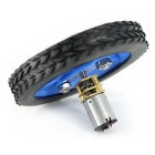 Smart Car Model 70x12mm Wearable Rubber Wheel for N20 Gear Motor - Blue + Black