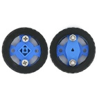 Smart Car Model 47x12mm Wearable Rubber Wheel for N20 Gear Motor - Blue + Black (2PCS)