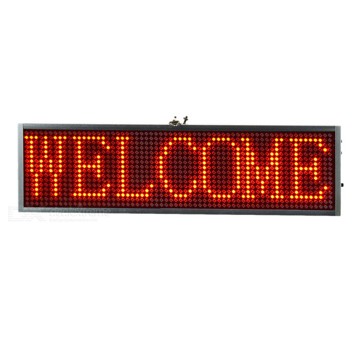 34cm Aluminum Alloy Red Light LED Message Display Board - Silver + Black (US Plug)