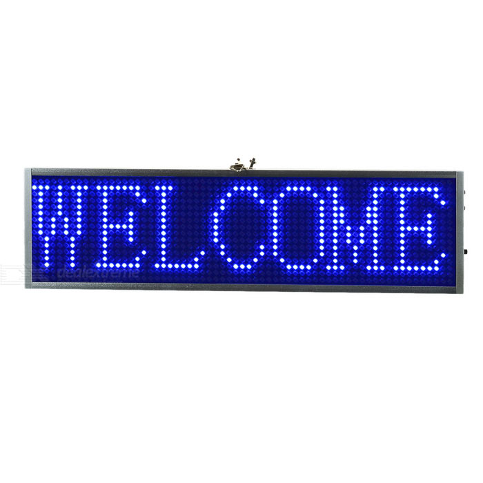 34cm Aluminum Alloy Blue Light LED meldingsdisplayet Board - Silver + Svart (US Plugger)