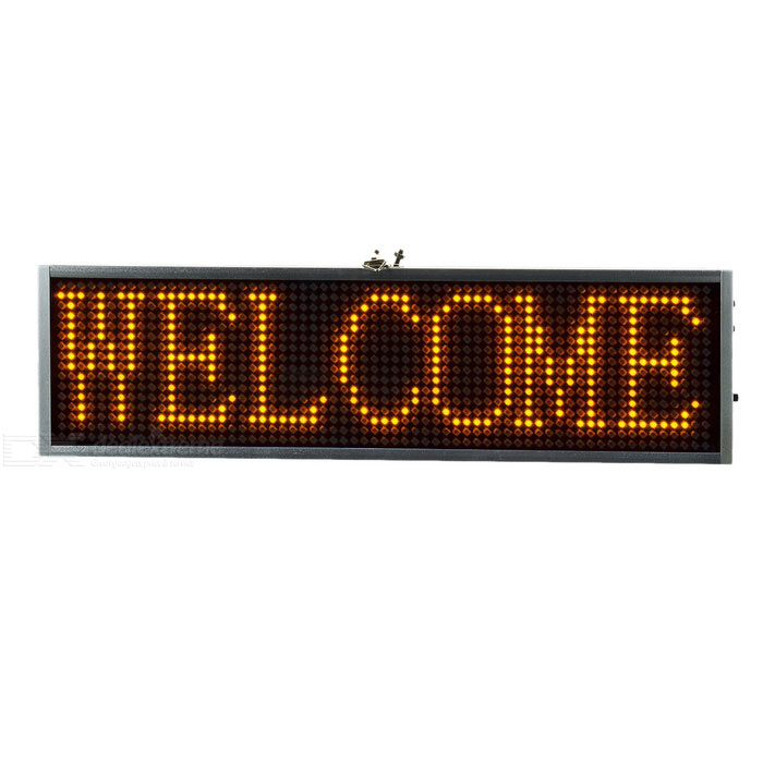 34cm Yellow Light LED Message Display Board - Silver + Black (US Plugs)USB Lights<br>Form  ColorSilver + Black + Multi-ColorQuantity1 DX.PCM.Model.AttributeModel.UnitMaterialAluminum alloy + LED + ABSShade Of ColorSilverLight ColorYellowLED QtyOthers,1024Powered ByAC Charger,USBPacking List1 x Display board1 x US plug 100~240V power cable (85cm)1 x USB data cable (80cm)1 x CD1 x Iron chain<br>