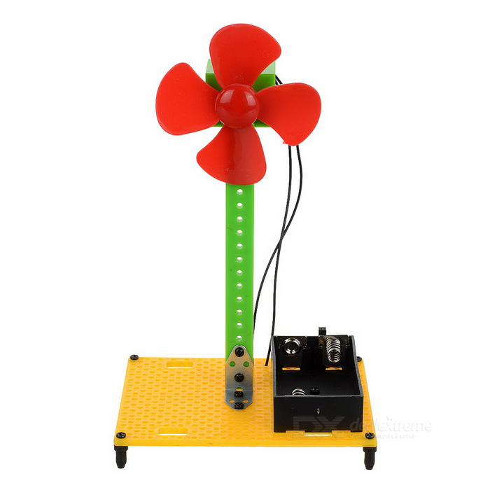 Electric Fan Assembly Educational Toy DIY Kit - Red + Green + Multi-Color (2 x AA)