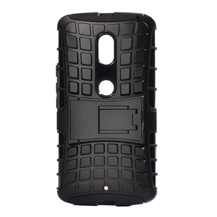 Protective Back Case w/ Stand for Motorola MOTO X Play - Black