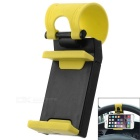 Creative Adjustable Car Steering Wheel Mount Holder for Cell Phone / GPS Navigator - Black + Yellow