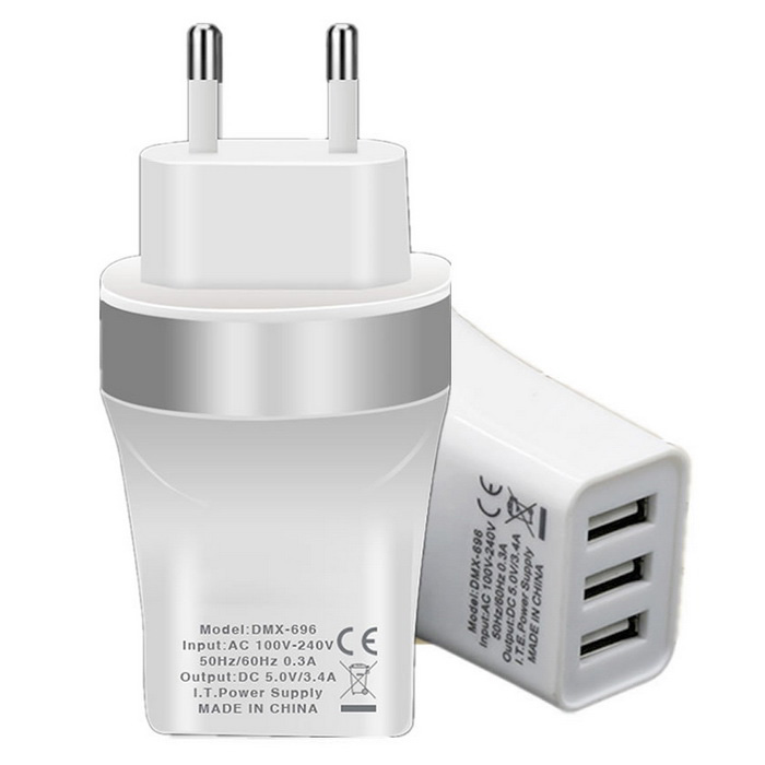 EU Plug 3-USB 5V 3.4A Power Adapter Charger for Phone - Silver + WhiteAC Chargers<br>Form ColorSilver + WhiteModelN/AMaterialPlasticQuantity1 DX.PCM.Model.AttributeModel.UnitCompatible ModelsUniversalInput Voltage100~240 DX.PCM.Model.AttributeModel.UnitOutput CurrentMAX (3.4) DX.PCM.Model.AttributeModel.UnitOutput Power10 DX.PCM.Model.AttributeModel.UnitOutput Voltage5 DX.PCM.Model.AttributeModel.UnitPower AdapterEU PlugPacking List1 x Charger<br>