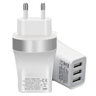 Universal EU Plug 3-Port USB 5V 3.4A Power Adapter Charger for Smart Phones - Silver + White