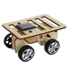 Solar Powered Car Assembly Educational Toy DIY Kit - Black + Wood Color