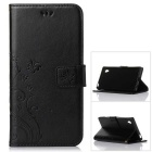 MO.MAT Butterfly in Love with Flower Style PU Leather Wallet Case for Sony Z5 - Black