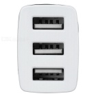 Universal 5V / 3A 3-Port USB Car Charger Power Adapter - White + Black
