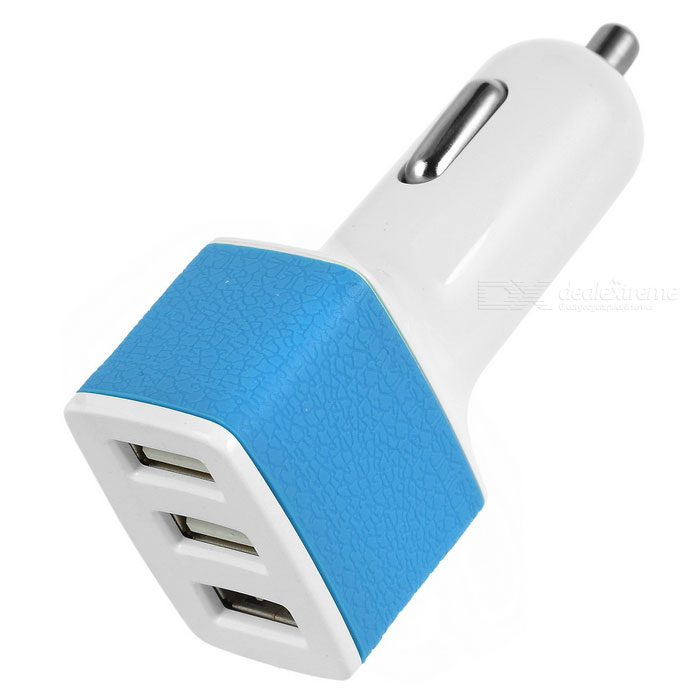 Universal 5V / 3A 3-Port USB Car Charger Power Adapter for Cellphone / Tablet PC - White + Blue