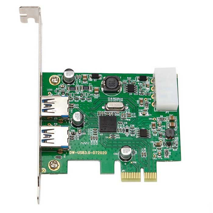 2 Ports USB 3.0 to PCI-Express Self-Powered Controller Card - Green