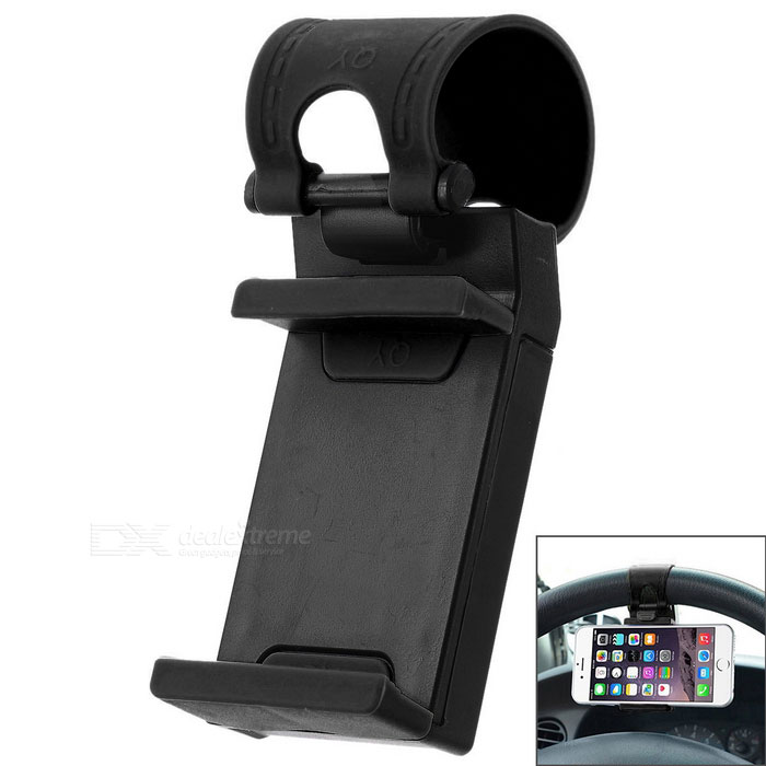 Adjustable Car Steering Wheel Mount for Phone / GPS - Black