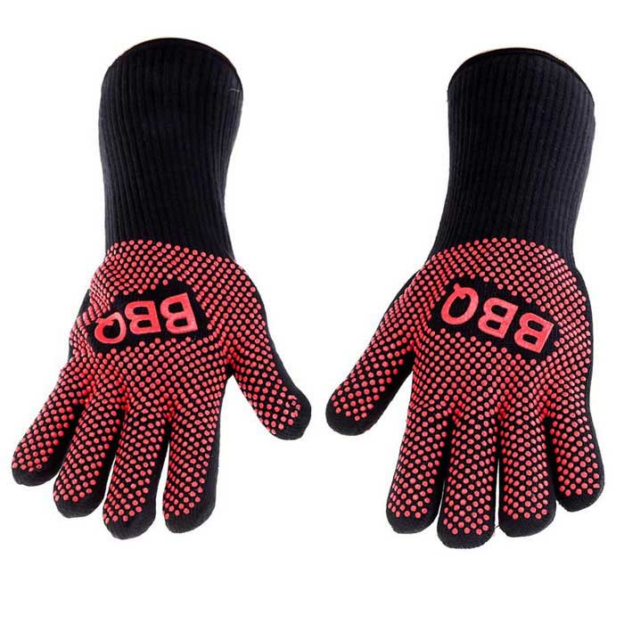 Excellent Heat-resistant BBQ Oven Gloves - Black + Red