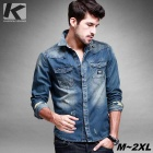 KUEGOU Men's Denim Pocket Long Sleeve Shirt - Blue (L)