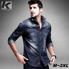 KUEGOU SC-15006 Men's Long Sleeves Denim Shirt - Blue + White (XL)
