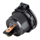 Universal Motorcycle Auto Refitting US Plugss Cigarette Lighter Power Socket - Black