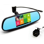 "5"" HD 1080P Quad-Core 1.3GHz Android 4.4 Car Rearview Mirror DVR w/ GPS Wi-Fi AVIN RU Map"