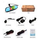 "5"" 1080P Android Car Rearview Mirror DVR w/ GPS, RUS Map - Black"