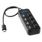 USB 3.1 Type-C to 4 Ports USB 2.0 HUB w/ Independent Switch - Black