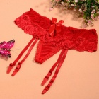 Sexy See-Through Lace bowknot Thong G-corda Cuecas Underwear w / Garters ajustáveis ​​- Red
