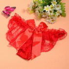Sexy See-Through Ropa interior Bare glúteos Lace Bowknot Thong G-String Bragas para la Mujer - Red