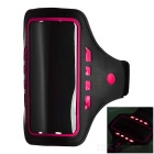 "Outdoor Sports 3-Mode LED Armband Pouch Case Arm Bag fior 5.1"" Phones - Black + Deep Pink"