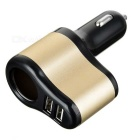 5V Dual USB Car Charger w/ Cigarette Lighter Socket - Black + Golden