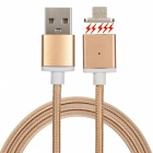 Magnetic Detachable Transformable Micro USB Braided Charging Data Cable for Android Phone -Champagne