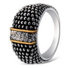 Xinguang Women's Retro Crystal Finger Ring - Antique Silver (US 7)