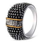 Xinguang Women's Retro Crystal Finger Ring - Antique Silver (US Size 6)