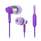 Universal 3.5mm Jack Plug In-Ear Earphones Headphone Headset w/ Mic. for Cellphone - Purple + Silver