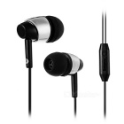 Universal 3.5mm Jack Plug In-Ear Earphones Headphone Headset w/ Mic. for Cellphone - Black + Silver