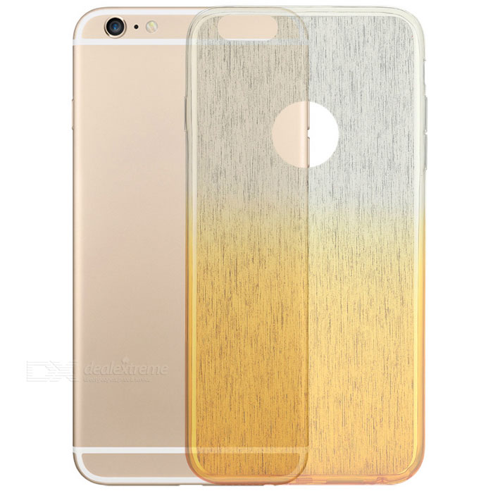 Wire Drawing Pattern TPU Back Case for IPHONE 6 / 6S - Golden Yellow + Translucent White