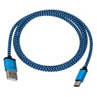Braided Type-C to USB 2.0 Data Charging Cable for ZUKZ1 / Nokia / Macbook - Blue + Black (1m)
