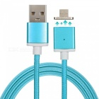 Cwxuan Nylon Mesh Braided USB 2.0 to Extended Magnetic Micro USB Charging Data Cable - Blue (1m)