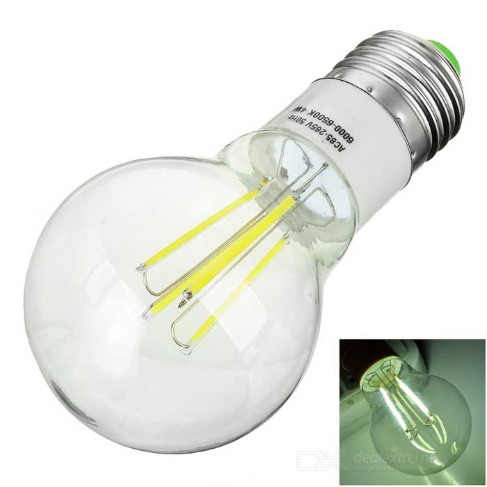 E27 4W LED Globe Bulb Lamp Cold White Light 4-COB (AC 85~265V)E27<br>Form  ColorTransparent + Silver + Multi-ColoredColor BINCold WhiteMaterialPC + plasticQuantity1 DX.PCM.Model.AttributeModel.UnitPower4WRated VoltageAC 85-265 DX.PCM.Model.AttributeModel.UnitConnector TypeE27Emitter TypeCOBTotal Emitters4Theoretical Lumens450 DX.PCM.Model.AttributeModel.UnitActual Lumens320~360 DX.PCM.Model.AttributeModel.UnitColor Temperature12000K,Others,5500~6500KDimmableNoPacking List1 x Bulb<br>